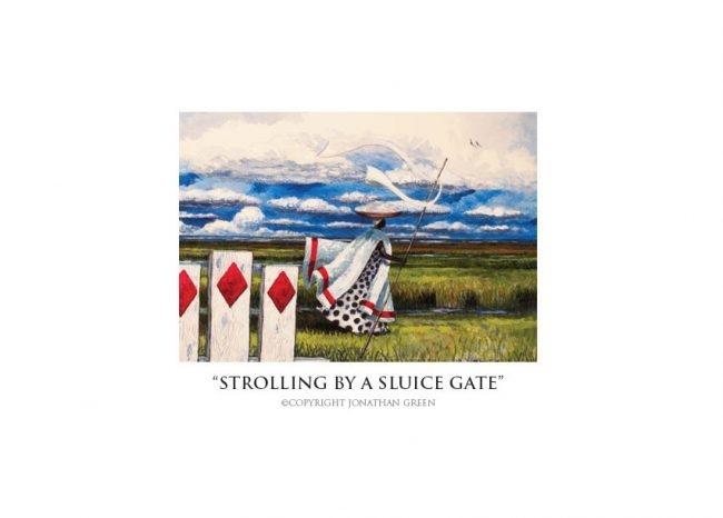Strolling by a Sluice Gate notecard